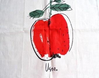 Vintage Vera Linen Towel - Red Apple Kitchen Tea Towel - NOS