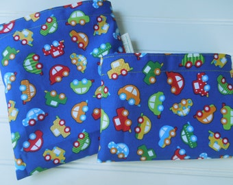 Reusable sandwich bag and/or reusable snack bag - Reuse sandwich bag - Reusable snack bag - Fabric reusable bags set - Baby cars - ON SALE