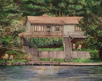 "Custom Home Drawing - 16"" x 20"""