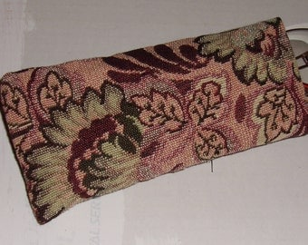 EYEGLASSES CASE Browns Blues, Upholstery Fabric, Padded, Sunglasses, Readers, Spare Glasses, Soft, Protective, Made in US, Elegant