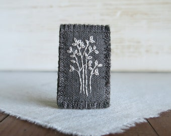 White Tree Textile Art Brooch