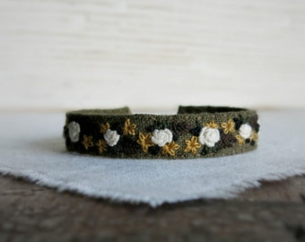Floral Embroidered Cuff Bracelet - Cream Roses on Olive Green Linen Cuff Bracelet