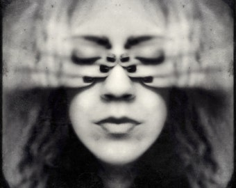 surreal portrait, creepy portrait, woman spooky photo, emotion covery eyes conceptual portrait, woman face home decor, fine art dark fantasy