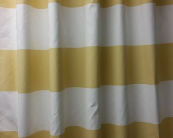 "Two 50"" wide designer curtain panels, drapes, rod pocket horizontal wide cabana 6"" stripes, saffron yellow  and white cotton"