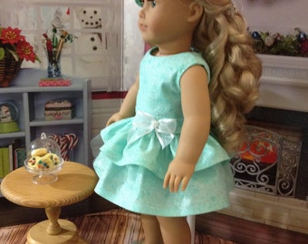 "On sale this week Caroline ""Sparkle"" dress, hair bow, and shoe fits AG dolls or similar 18 inch dolls"