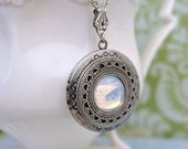 jewelry locket necklace - MOONLIT - vintage Swarovski moonstone glass crystal jewel locket necklace in antiqued silver