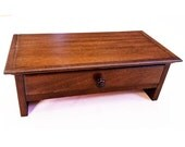 Small Mahogany Wood Computer Monitor Stand and Desk  Organizer with Drawer