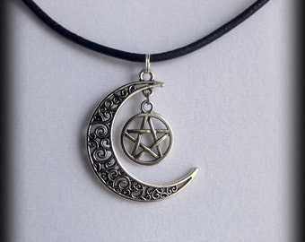 Crescent Moon Pentacle Necklace -  Pagan Wiccan Jewelry