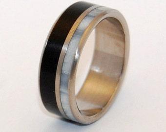 Stone Wedding Rings, titanium ring, titanium wedding rings, onyx, Eco-friendly rings, mens ring, womens rings, stone rings - MOUNTAIN TOP
