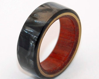 Titanium Ring, Wedding Ring, Wood Ring, Bloodwood, Wooden Wedding Ring, Custom Made Ring, Mens Ring, Women's Ring - A love you can LEAN ON