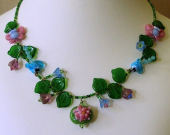 Dragonfly Necklace, Lampwork Butterflies, and Waterlilies