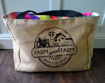 Handmade Farm Sweet Farm Farmers Market Tote - Burlap Market Tote Bag