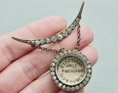 Victorian Paste Crescent Brooch with Dangling Glass Locket / Antique Love Token / Wedding Jewelry