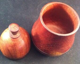 Mid Century  Pear Condiment Wood Container, Mid Century Design, Treenware Pear Condiment Jar, Vintage Wooden Treenware, Home Design Kitchen