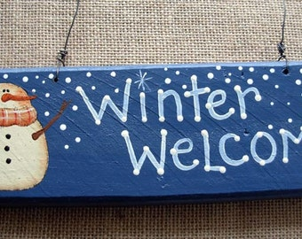 Winter Welcome Barnwood Rustic Sign |Outdoor Sign| Snowman Sign