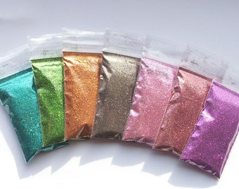 Microfine Glitters - New Colours Collection.  High Quality European Metallic Fine Glitter for Crafts, Polymer Clay, Weddings etc