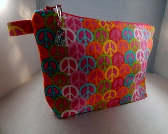 Hot Pink Peace Sign Zipper Pull Ready to Ship Makeup Cosmetic Organizer Bag