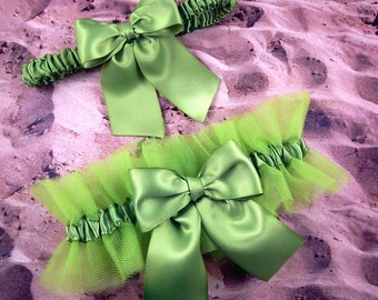 Lime Green Satin Lime Green Tulle Bridal Wedding Garter Toss Set