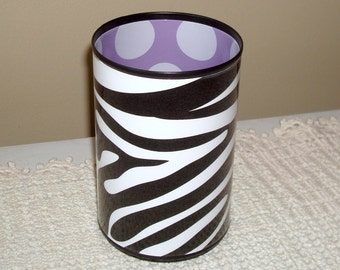 Black White Zebra Desk Accessories, Purple Polka Dot Pencil Holder, Desk Organization, Dorm Decor, Gift for Student, Gift for Teen  728
