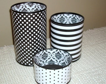 Black and White Tin Can Desk Accessories, Damask Polka Dot Stripes Pencil Holder, Pencil Cup, Desk Organization, Office Decor Dorm Decor 700