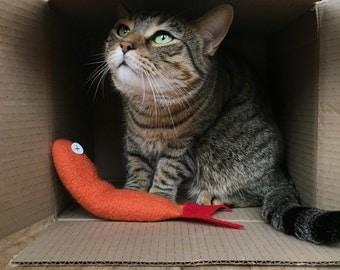 Organic Catnip Toy Fish Premium Wool Red Orange Felt Goldfish Hand Knitted Felted Premium Large Kicker For Cats Pets