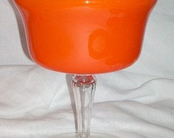 Cased Orange Art Glass Mid Century Jar Empoli Murano Italy