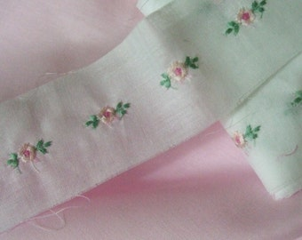 White Swiss Embroidered Insertion with Pink Rosebuds ~ White cotton Embroidered Lace Insertion ~ Heirloom Sewing