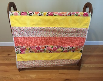 Baby Girl Quilt/Blanket Pink/Coral/Yellow FREE SHIPPING