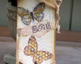 Mixed Media Art Tag Original Art Tag Butterfly Nature