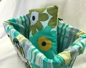 Poochie Bicycle pillow for Basket Liner Funky Flower Fabric with Chick Stripe Turquoise Liner