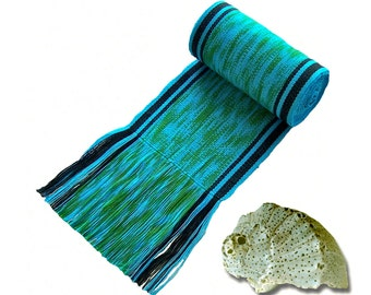 Blue-Green Ikat Sash SA49 - Boho Belt - Bohemian Accessories - Guatemalan Textiles - Blue Sash - Woven Belt - Pirate Costume Accessories