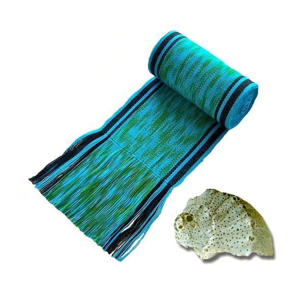 Caribbean Blue Green Sash SA49 - Sash Belt - Gypsy Style Clothing - Woven Belt - Boho Chic Fashion - Guatemalan Textiles - Blue Ikat Fabric