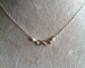 Sterling INFINITY necklaces pearl or gemstone - 2 sizes sterling silver love infinity romance valentine's day eternity infinity sign