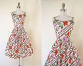 1950s Dress - Vintage 50s Dress - Pumpkin Olive Pink Rose Print Cotton Full Skirt Sundress M - Crossroads Dress