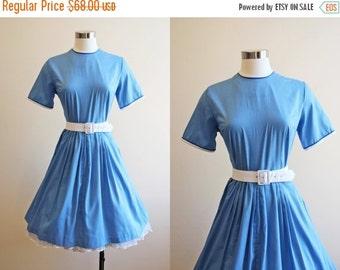 ON SALE 50s Dress - Vintage 1950s Dress - Nautical Blue Soft Cotton Full Skirt Dress M - Memo to Myself