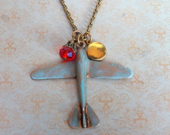 SALE - The Pilot's Wife - Necklace, Tiny Vintage Gold Brass Locket, Wire Wrapped Crystal, Hand-painted Turquoise Blue Patina Airplane