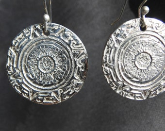 Fine Silver Mayan Calendar Earrings