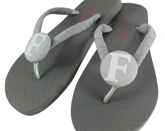 Gray & White Glitter Bridesmaid Flip Flops with Personalization- cute gift for your bridal party! Choose colors and sizes, girls and ladies