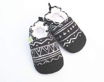 Eco-Canvas Vegan Tribal In black / non-slip soft sole shoes / made to order / babies toddlers preschool