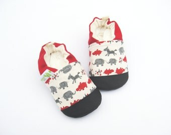 Classic Vegan Safari in Red Soft Sole Shoes Nonslip  Made to Order boy Hippo Elephant