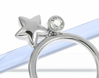 Silver Star and Moonstone Ring | Silver Stacking Ring | Handmade Silver Ring