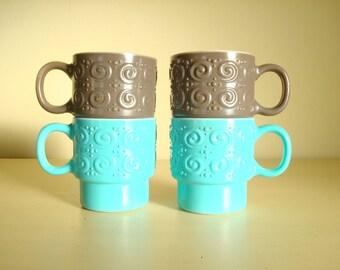 Vintage coffee cups, 4 turquoise and grey stacking mugs, stacking mug set, fancy raised pattern, coffee break, ceramic vintage mugs