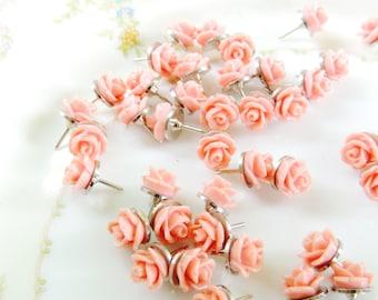 Decorative Flower Thumbtacks Push Pins Wedding Boards Rose Bud Bulk Salmon Peach Tacks Thumb Tack Message Boards Office Decor
