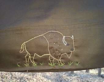 Hand embroidered Brown Bison Standard Pillowcase