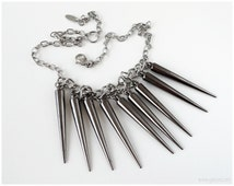 Gunmetal Spike Necklace, Stainless Steel Chain, Acrylic Spikes, Edgy, Visual Kei, Pastel Goth, Grunge, Rocker Chic