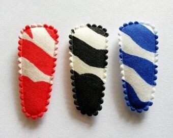 25 pcs - Mix color Zebra graphic Hair Clip COVERS - size 35 mm