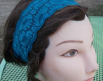Stretch Teal LACE HEADBAND Handmade Women Teen One Size Fits