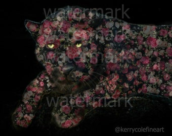 Sleepless. Black Leopard in Floral Print. 8x10 Frameable Print