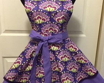"Vibrant Floral and Chevron Double Tiered Woman""s Twirly Full Apron"