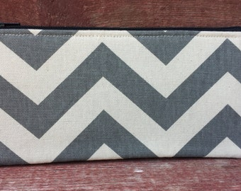 Long Zipper Pouch Gray Chevron Handmade in Iowa